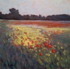 "Daily+Paintworks+-+""Poppy+Field+Floral+Landscape+Oil+Painting""+-+Original+Fine+Art+for+Sale+-+©+Heidi+Malott"