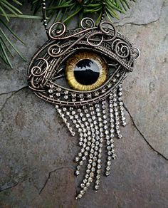 Gothic Steampunk Evil Eye Pin Pendant in by twistedsisterarts, $120.00