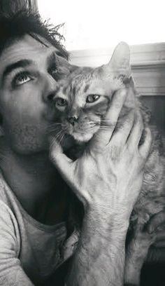 Ian Somerhalder Ok, I don't even like cats but this guy is perfect. He's gorgeous AND he loves animals! Vampire Diaries Damon, Vampire Diaries Poster, Ian Somerhalder Vampire Diaries, Vampire Diaries Wallpaper, Vampire Diaries Memes, Vampire Daries, Vampire Diaries The Originals, Nikki Reed, Joseph Morgan