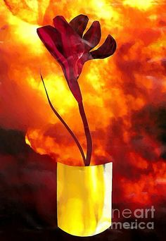"""""""Fire and Flower"""" collage by S Loft, prints at Fine Art America"""