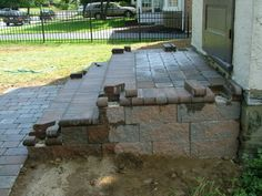 We Show The Way We Construct Steps Using Wall Stones With Photos & Descriptions - Newtown Square PA from Robert J. Brick Porch, Concrete Porch, Concrete Steps, Backyard Plan, Backyard Patio, Small Yard Landscaping, Landscaping Ideas, Patio Installation, Front Porch Steps