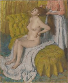 Edgar Degas (French, 1834–1917) Woman Having Her Hair Combed, ca. 1886–88. The Metropolitan Museum of Art, New York. H. O. Havemeyer Collection, Bequest of Mrs. H. O. Havemeyer, 1929 (29.100.35) |  Executed in large format and meticulously finished, this nude—reminiscent of Rembrandt's famous Bathsheba at Her Bath in the Louvre—may not have been completed in time for the exhibition, or else it may have been excluded deliberately for reasons unknown. #paris