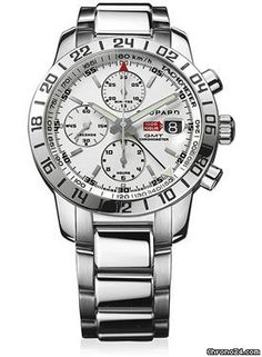 Chopard Mille Miglia GMT $6,310 #Chopard #watch #watches #chronograph 42.5mm stainless steel case, sapphire crystal back, white dial