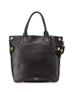 Victoria Pebbled Leather Tote Bag, Black by Badgley Mischka at Neiman Marcus.