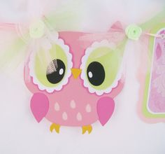 Pink owl name banner baby shower banner by NancysBannerBoutique,