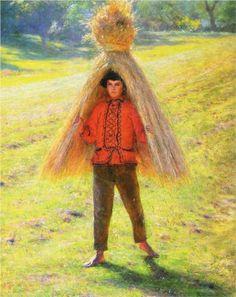 "Aleksander Gierymski: ""Boy Carrying a Sheaf"", oil on canvas, Dimensions: 94 × 77 cm × in), Current location: National Museum in Wrocław. Mode Bizarre, Corn Dolly, Straw Crafts, Weird Creatures, Art Database, National Museum, Magazine Art, Public Art, Retro"