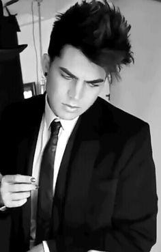 adam lambert, black and white, and cute image