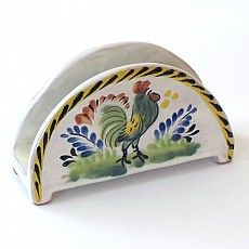 Emilia Ceramics Napkin Holder with Rooster
