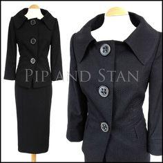 NEXT SIZE 6-22 BLACK PENCIL SKIRT SUIT 1950S 50S STYLE WOMENS LADIES WOMAN