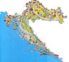 Croatia Tourist Map,Travel Map of Croatia, Croatia Attraction Map in English Dalmatia Croatia, Croatia Travel, Dubrovnik, Travel Maps, Places To Travel, Pictorial Maps, Tourist Map, Country Maps, Viajes
