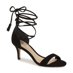 """Vince Camuto 'Kathin' Lace-Up Sandal, 3"""" heel ($110) ❤ liked on Polyvore featuring shoes, sandals, black leather, leather lace up sandals, vince camuto sandals, leather shoes, vince camuto shoes and kitten heel sandals"""
