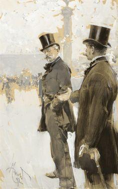 Luděk Marold (Czech, 1865-1898), Gentlemen in Paris, 1892. Gouache on paper, 32.5 x 20cm.