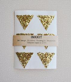 Gold glitter large triangle stickers  24 stickers by inkkit #socialpreparednesskit #eggpress #thoughtfulashell