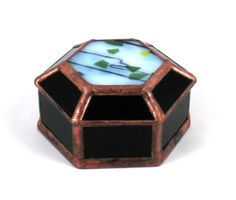 Hexagon Stained Glass Box by gculpstainedglass on Etsy, $29.00