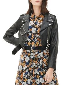 Sandro Vegas Studded Leather Jacket | Bloomingdale's