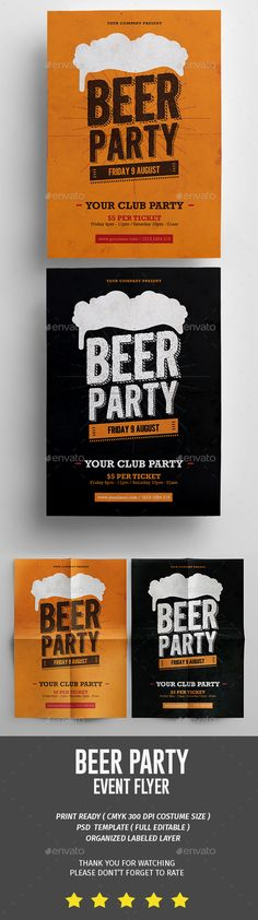 Beer Party Flyer — Photoshop PSD #happy hour #midnight • Available here → https://graphicriver.net/item/beer-party-flyer/16725048?ref=pxcr