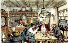 The Card Players - Anton Pieck, Dutch painter, artist and graphic artist.