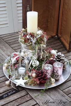 winterliches kerzengesteck in shabby chick christmas home pinterest. Black Bedroom Furniture Sets. Home Design Ideas
