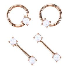 14G Steel Rose Gold White Opal Nipple 4 Pack Hot Topic ($13) ❤ liked on Polyvore featuring jewelry, beading jewelry, opal jewellery, rose gold jewellery, opal jewelry and beaded jewelry
