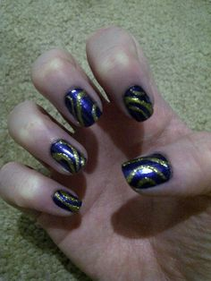 Blue Nails with Gold Design!