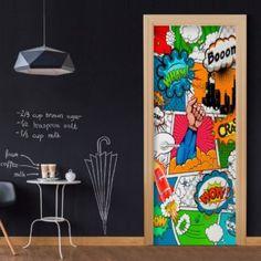 Carnell Comic World Door Wall Mural Corrigan Studio Size: H x W x D 3d Wallpaper Mural, Photo Wallpaper, Design Comics, Room Doors, Decoration Design, Door Wall, Painted Doors, Door Design, Wall Murals