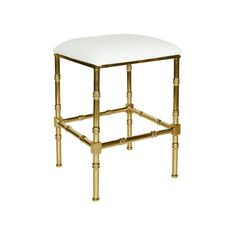 Worlds Away Sadler Brass Bamboo Counter Stool with White Leather Cushion - CURRENTLY ON BACKORDER - PLEASE CALL FOR AVAILABILITY
