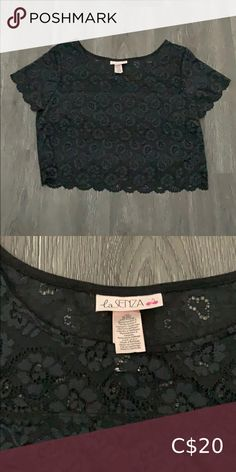 I just added this listing on Poshmark: 🌟2/$25🌟La Senza Lace Crop Top. #shopmycloset #poshmark #fashion #shopping #style #forsale #La SENZA #Tops Black Mesh Crop Top, Lace Crop Tops, Sports Crop Tops, Bralette Crop Top, Crop Top Sweater, Square Scarf, Zara Tops, Casual T Shirts, Workout Tops