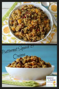 Butternut Squash and Quinoa- perfect side dish for the holiday season. Roasted butternut squash with cranberries, pomegranate aril tossed in a champagne vinaigrette