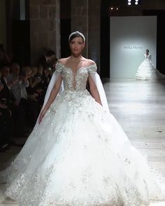 """2019 """"Royal"""" Collection Stunning Embroidered Backless Off Shoulder A-Lane Princess Wedding Dress / Bridal Ball Gown with Open Back and a Train. Runway Show by Milla Nova Queen Wedding Dress, Royal Wedding Gowns, Gorgeous Wedding Dress, Wedding Dresses Plus Size, Princess Wedding Dresses, Dream Wedding Dresses, Bridal Dresses, Beautiful Dresses, Pina Tornai Wedding Dresses"""