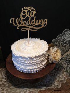 Our Wedding, Wedding Cake Topper in Gold or Silver Glitter