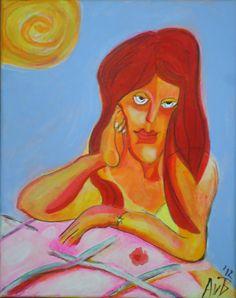 schilderij van een dagdromend meisje by AteliervanBiesbergen, $250,00