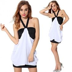 Women Halter V Neck Dress Sexy Ladies Backless Slim Package Hip Chiffon Splicing Mini Dress