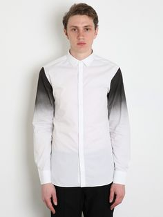 ...Neil Barrett Dipped Sleeve Shirt in white/ black.  Interesting dip dye print placement, which could easily translate into the day/night program for either wovens or knits.