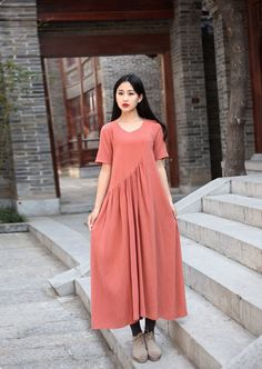 Linen dress Cotton Maxi dress Casual loose long dress Party Dress Custom-made Plus size tunic dresses Large size dress plus size clothing by Luckywu on Etsy