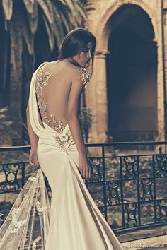 julia kontogruni bridal 2015 wedding dress one shoulder sheer embroidered beaded back fit and flare gown back closeup