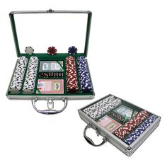 Trademark Global 11.5g Dice-Striped Poker Chip Set with Case - 200 Chips - 10-1090-2002C