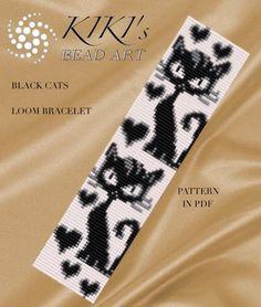 "Bead loom pattern Black cats LOOM bracelet pattern in PDF ""Bead loom pattern Flower with gold LOOM bracelet por KikisBeadArts"", ""Bead loom pattern FLOWE Loom Bracelet Patterns, Seed Bead Patterns, Bead Loom Bracelets, Peyote Patterns, Weaving Patterns, Embroidery Bracelets, Armband Rose, Loom Bracelets, Bookmarks"