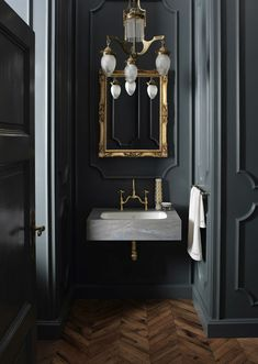 Serious bathroom interior design inspiration, gilded mirrors and marble with gre. Serious bathroom interior design inspiration, gilded mirrors and marble with grey accents Salon Interior Design, Interior Design Magazine, Bathroom Interior Design, Interior Office, Gold Interior, Pastel Interior, Interior Logo, Interior Sketch, Simple Interior