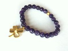 Amethyst Bracelet Elastic Bracelet Gemstone Bracelet by GULDENTAKI