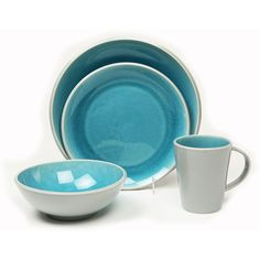 Baum Canvas 16-pc. Dinnerware Set ($190) ❤ liked on Polyvore featuring home, kitchen & dining, dinnerware, microwave safe bowl, teal dinnerware, colored dinnerware, baum dinnerware and microwave safe dinnerware