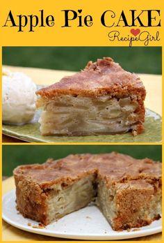 Cinnamon Apple Pie Cake recipe from RecipeGirl.com #cinnamon #apple #pie #applepie #cake #applecake #recipe #RecipeGirl