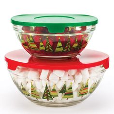 """These holiday-inspired glass bowls are perfect for serving and storing. Large, 6 3/4"""" diam. x 3 1/8"""" H. Small, 5 1/2"""" diam. x 2 1/2"""" H. Microwave/dishwasher safe. With plastic lids. Imported."""