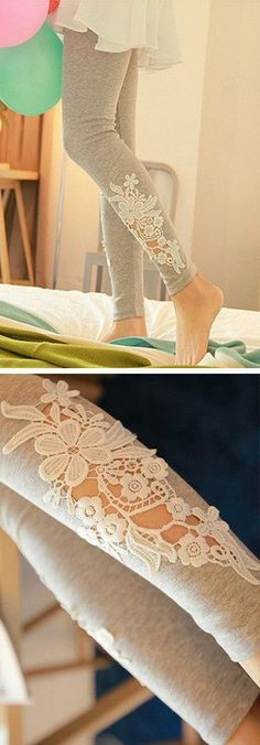Grey Leggings with Floral Applique Cutout Lace // SO cUte!