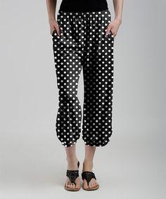 Black & White Polka Dot Crop Pants - Women & Plus #zulily #zulilyfinds