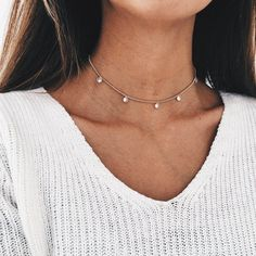 "- Delicate chain choker with 5 dainty diamonds (Cubic Zirconia) dropping - 14k gold layered : Gold-plated jewelry is created a process that places a layer of gold on brass. - 12"" + 2"" extender, adjust"