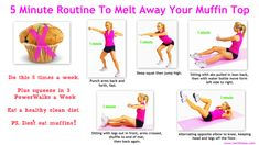 ONLY TAKES 5 MINUTES :) This muffin top workout combines cardio moves to help melt away muffin top fat, then toning moves to help sculpt and tighten through the hips, bottom and waist. Better me,Fitness & Health,Fitn Cardio Challenge, Intense Ab Workout, Muffin Top Exercises, Train Insane Or Remain The Same, Love Handle Workout, Fitness Magazine, I Work Out, Motivation, Get In Shape