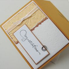 Graduation/Congratulations Greeting Card:  Handmade Blank Note Card - Spice