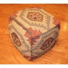 @Overstock.com - Handmade Kilim Upholstered Puff Ottoman (India) $114.99