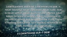 Love is patient and kind...