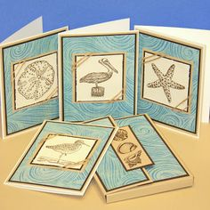 handmade notecard set from Gina K Designs ... seashore icons ... soft aquas and browns ... matching box ...